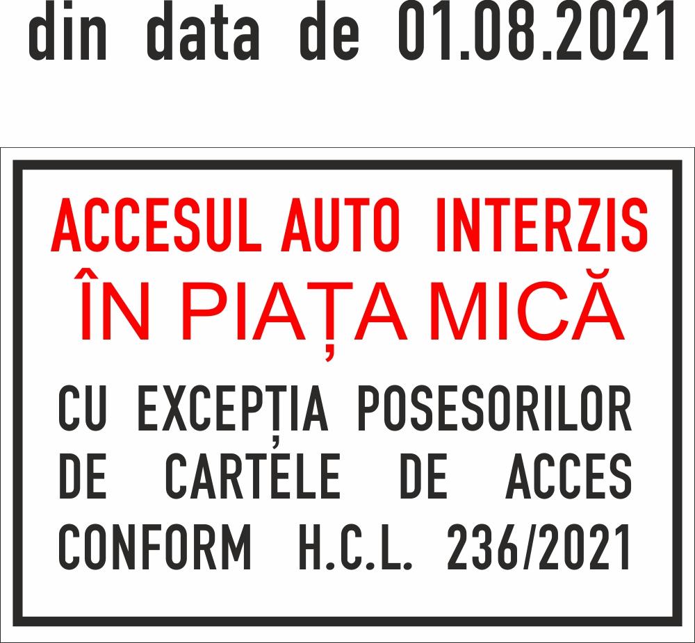 Modificare regulament de acces auto în Piața Mică