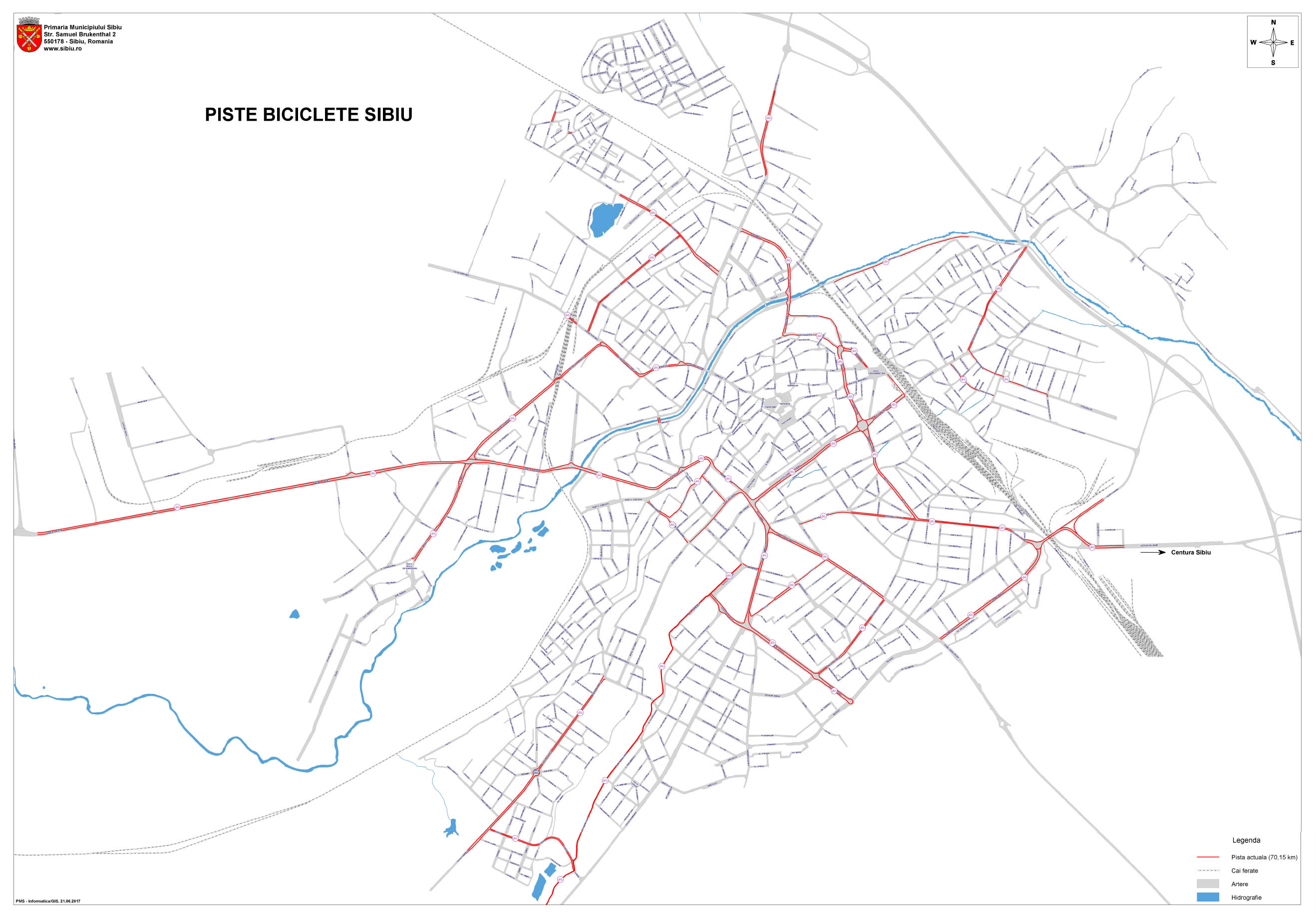 Harta Cu Pistele De Biciclete Din Municipiul Sibiu